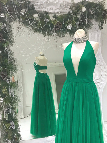 Chic Prom Dresses A-line Floor-length Rhinestone Hunter Green Prom Dress/Evening Dress JKL404
