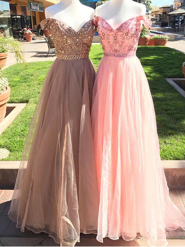 Sexy Prom Dresses Off-the-shoulder Floor-length Rhinestone Long Prom Dress/Evening Dress JKL405