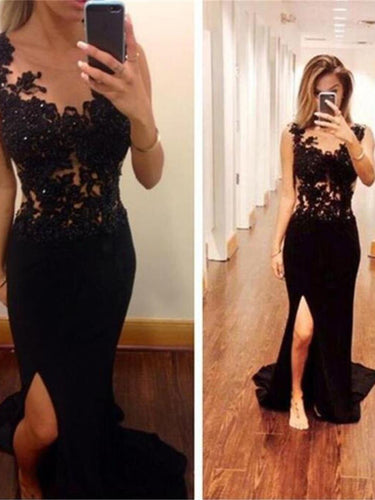 Black Prom Dresses Sweep/Brush Train Sheath/Column Slit Prom Dress/Evening Dress JKL416