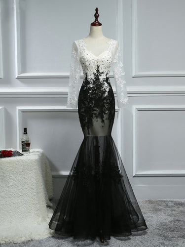 Black and White Prom Dresses Trumpet/Mermaid Sexy Long Prom Dress/Evening Dress JKL417
