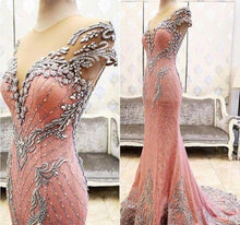 Luxury Prom Dresses Sheath/Column Rhinestone Lace Sexy Prom Dress/Evening Dress JKL419