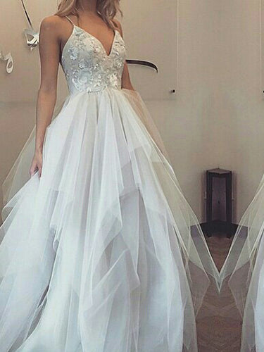 Chic Prom Dresses Spaghetti Straps Appliques Tulle Sexy Prom Dress/Evening Dress JKL423