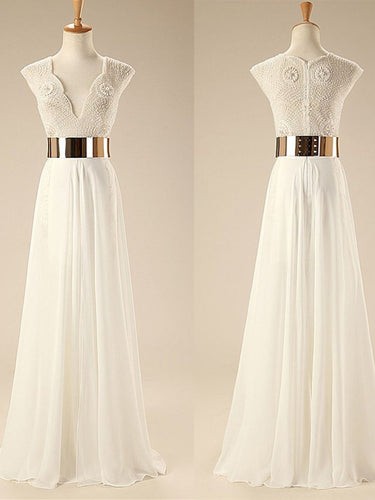 Beautiful Prom Dresses V-neck Floor-length Chiffon Sexy Prom Dress/Evening Dress JKL425