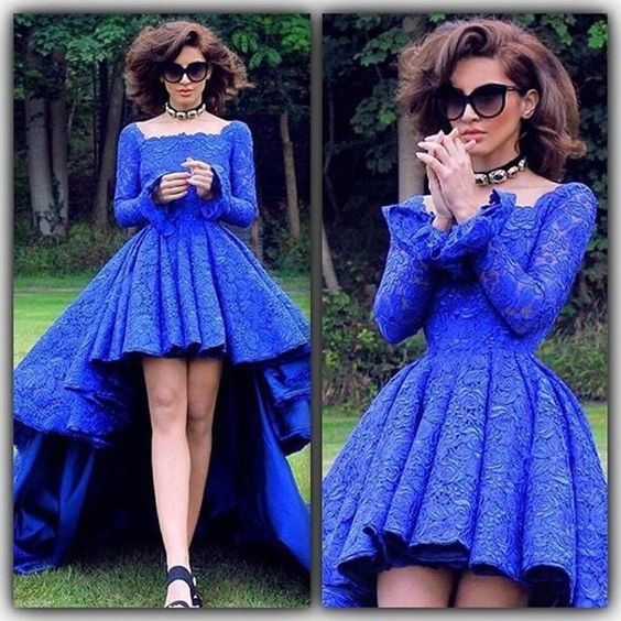 ... High Low Prom Dresses Square Long Sleeve Royal Blue Lace Prom Dress Evening  Dress JKL426 ... 45e467ef9