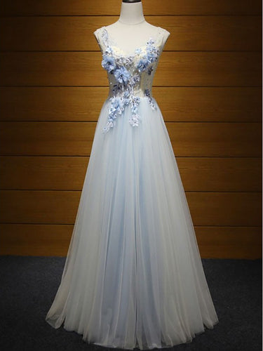 Sexy Prom Dresses A-line Straps Appliques Lace-up Tulle Prom Dress/Evening Dress JKL429