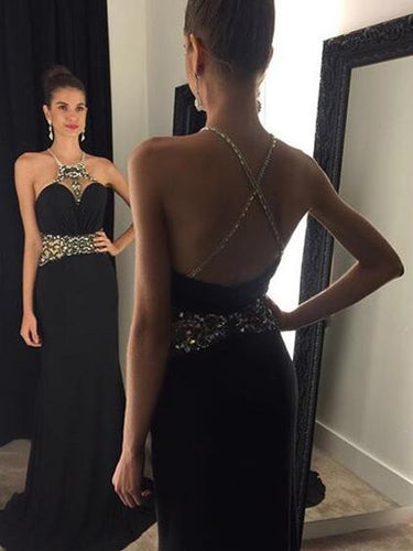 Black Prom Dresses Sheath/Column Rhinestone Halter Sexy Prom Dress/Evening Dress JKL432