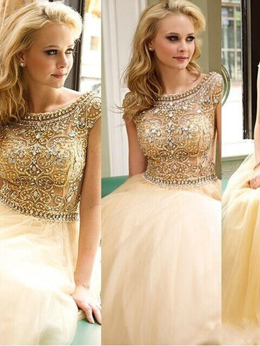 Sexy Prom Dresses A-line Floor-length Rhinestone Prom Dress/Evening Dress JKL436