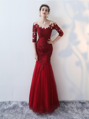 Chic Prom Dresses Scoop Trumpet/Mermaid Burgundy Sexy Prom Dress/Evening Dress JKL438