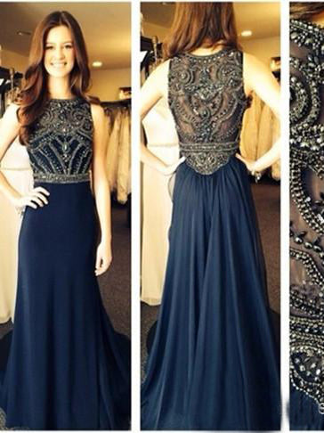 Dark Navy Prom Dresses A-line Scoop Rhinestone Sexy Prom Dress/Evening Dress JKL440