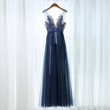 Chic Prom Dresses Straps A-line Floor-length Dark Navy Prom Dress/Evening Dress JKL444