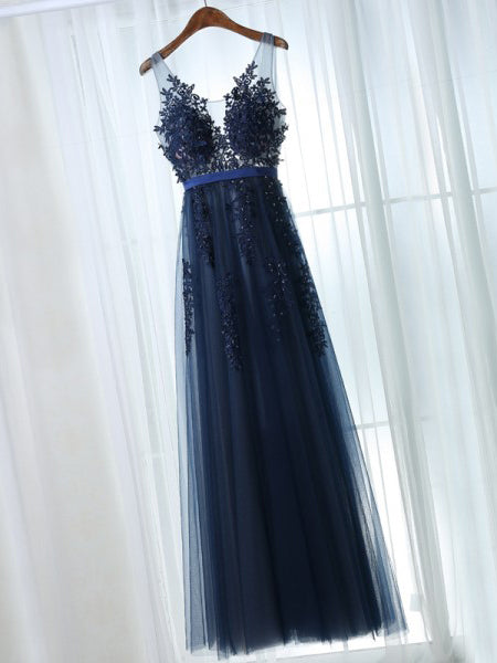 Chic Prom Dresses Straps A-line Floor-length Dark Navy Prom Dress ...
