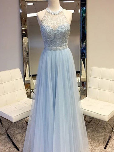 Sexy Prom Dresses Halter A-line Light Sky Blue Tulle Prom Dress/Evening Dress JKL445|Annapromdress