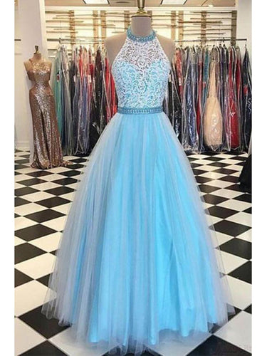 Lace Prom Dresses Halter A-line Floor-length Sexy Prom Dress/Evening Dress JKL454