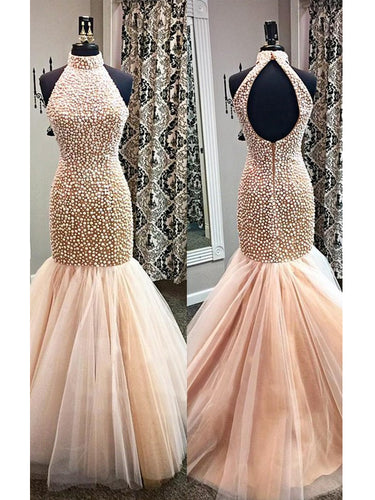 Sexy Prom Dresses Trumpet/Mermaid High Neck Beading Long Prom Dress/Evening Dress JKL455