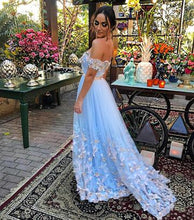 Sexy Prom Dresses Off-the-shoulder Floor-length Appliques Long Prom Dress Evening Dress JKL457