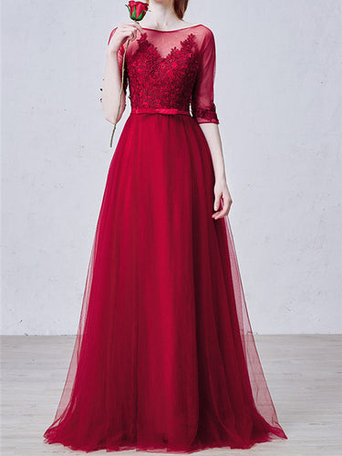 Burgundy Prom Dresses A-line Floor-length Appliques Tulle Sexy Prom Dress JKL458