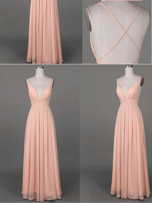 Cheap Prom Dresses Spaghetti Straps A-line Floor-length Sexy Prom Dress Chiffon JKL459