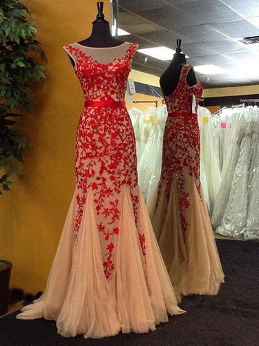 Sexy Prom Dresses Bateau Sheath Column Short Train Tulle Long Red Prom Dress JKL462