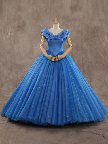 Luxury Prom Dresses Ball Gown Sweep/Brush Train Royal Blue Sexy Prom Dress JKL466
