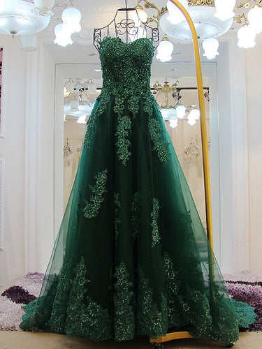 Luxury Prom Dresses A-line Sweetheart Sequins Hunter Green Long Prom Dress JKL468