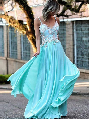 Sexy Prom Dresses Spaghetti Straps Appliques Long Prom Dress Chiffon JKL469