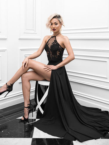 Two Piece Prom Dresses Halter A-line Sexy Prom Dress Black Evening Dress JKL471