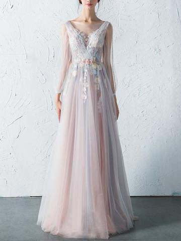 Chic Prom Dresses Colorful Bateau Appliques Long Prom Dress Tulle JKL474