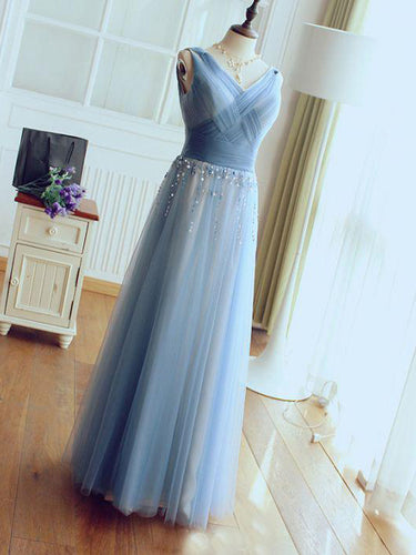 Sexy Prom Dresses V-neck Floor-length Sequins Prom Dress A-line Evening Dress JKL478