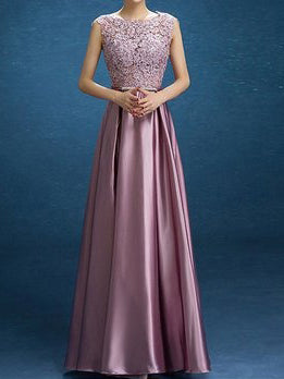 Chic Prom Dresses Scoop Floor-length Lace Bowknot Long Prom Dress Satin JKL479