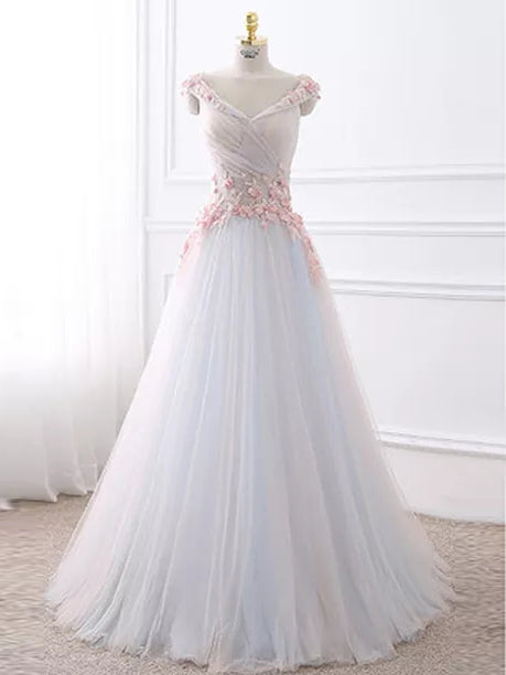 Sexy Prom Dresses V-neck Floor-length Hand-Made Flower A-line Prom Dress JKL480