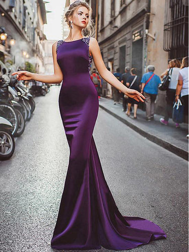 Sexy Prom Dresses Sheath Column Regency Long Cheap Prom Dress Satin Evening Dress JKL484