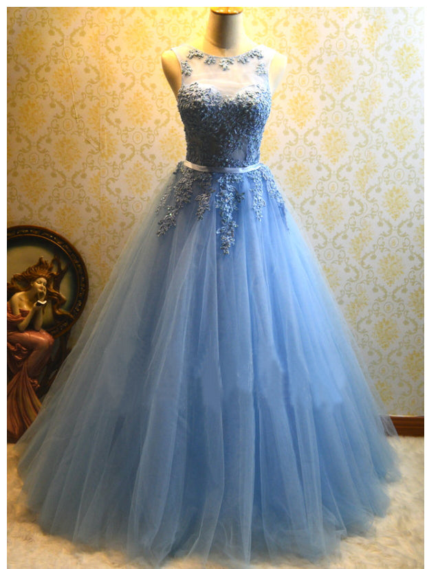 Ball Gown Prom Dresses Scoop Floor-length Tulle Long Sexy Prom Dress JKL487