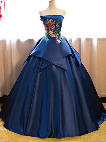 Ball Gown Prom Dresses Strapless Floor-length Appliques Long Prom Dress JKL488