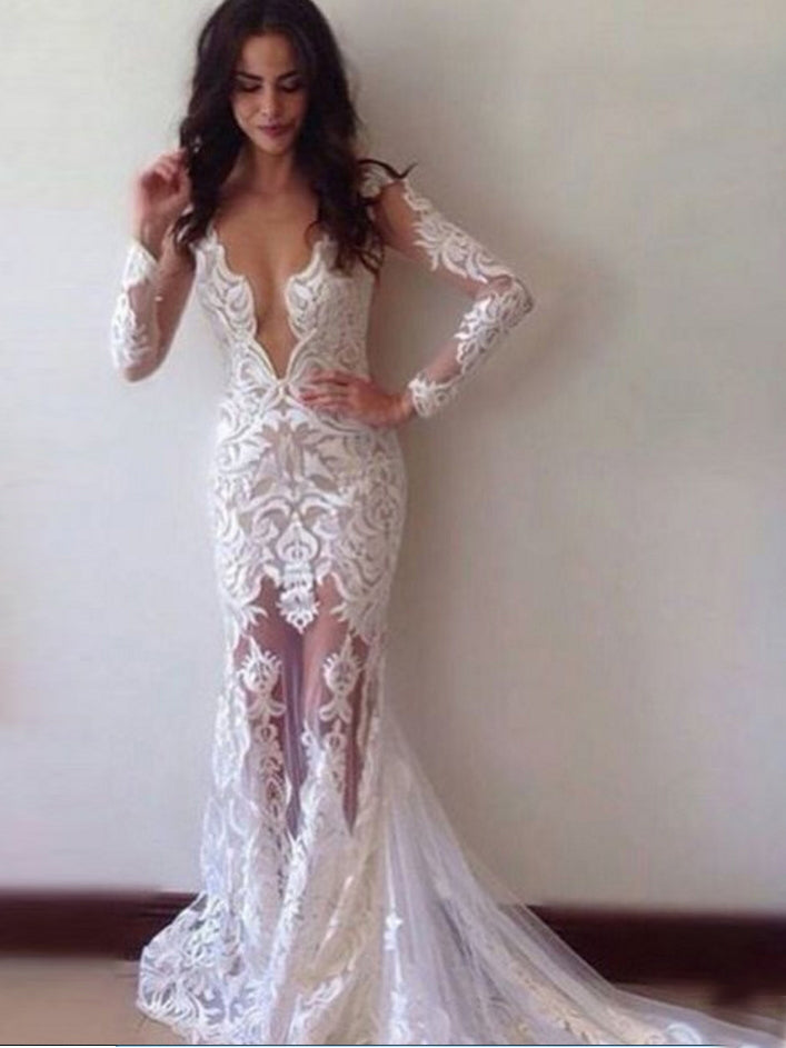 Sexy Prom Dresses Scoop Sheath Column Long Sleeve Chic Prom Dress Ivory Evening Dress JKL492