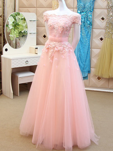 Long Prom Dresses A-line Off-the-shoulder Floor-length Prom Dress Sexy Evening Dress JKL493
