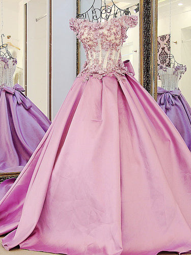 Ball Gown Prom Dresses Brush Train Hand-Made Flower Lace Prom Dress Satin Evening Dress JKL495
