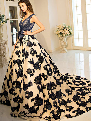 Ball Gown Prom Dresses V-neck Brush Train Beading Lace Prom Dress JKL498
