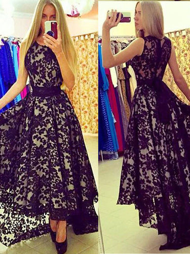 High Low Prom Dresses Scoop A-line Black Prom Dress Lace Evening Dress JKL499