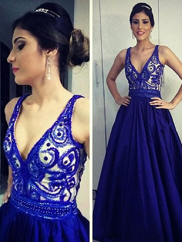 Royal Blue Prom Dresses Straps Floor-length Satin Long Sexy Prom Dress JKL505