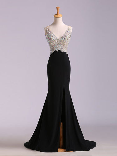 Black Prom Dresses V-neck Short Train Rhinestone Sexy Long Prom Dress JKL506