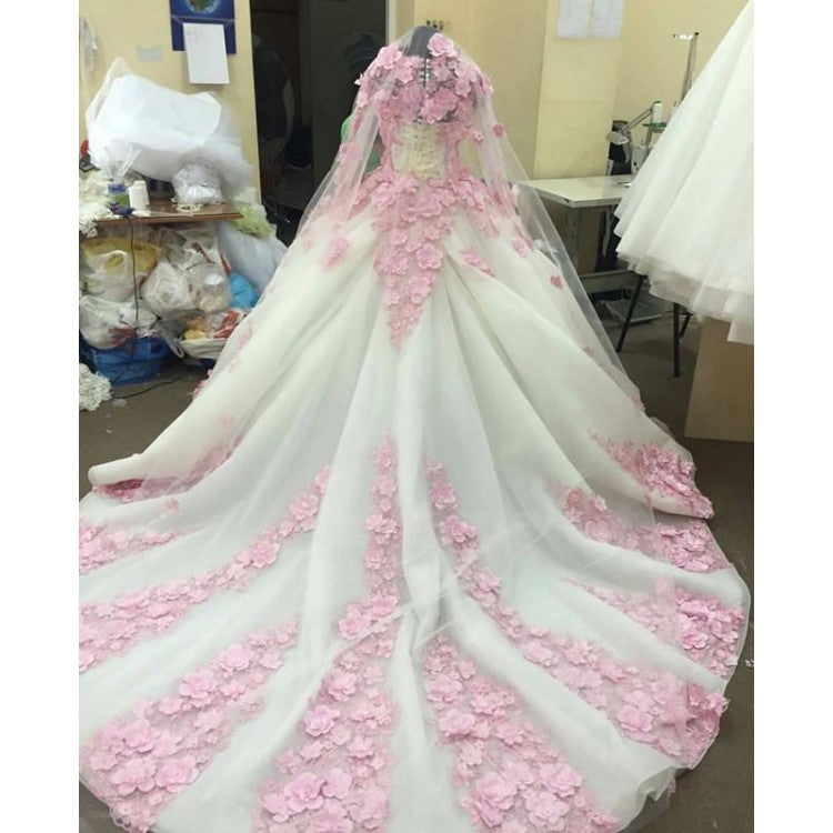 Ball Gown Prom Dresses Long Sleeve Lace Pink Floral Luxury Long Prom ...