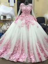 Ball Gown Prom Dresses Long Sleeve Lace Pink Floral Luxury Long Prom Dress JKL508