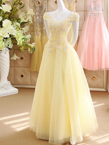 Chic Prom Dresses A-line Floor-length Sexy Prom Dress Tulle Evening Dress JKL509