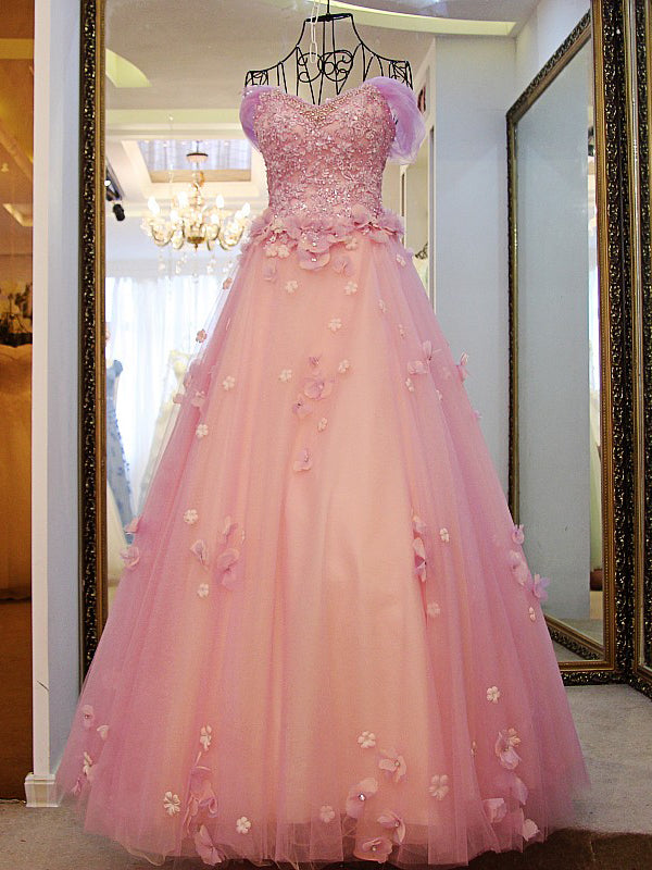 Beautiful Prom Dresses Sweetheart Tulle Hand-Made Flower Long Prom ...