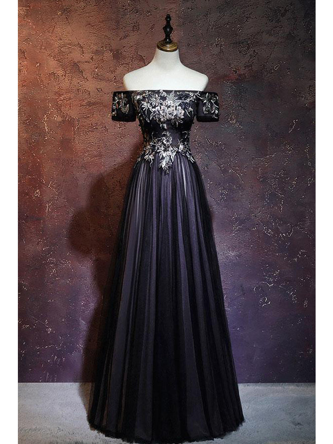 Black Prom Dresses Off-the-shoulder A-line Short Sleeve Long Prom Dress Evening Dress JKL513