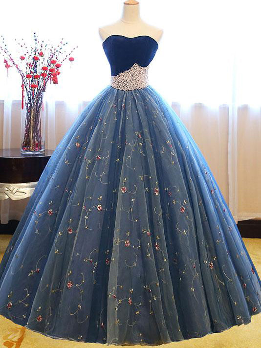 Ball Gown Prom Dresses Sweetheart Floor-length Beading Prom Dress Sexy Evening Dress JKL514