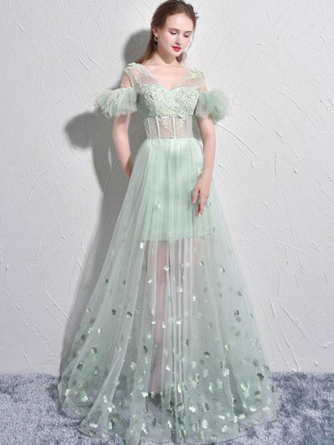Sexy Prom Dresses A-line Short Sleeve Sage Long Prom Dress Tulle Evening Dress JKL516