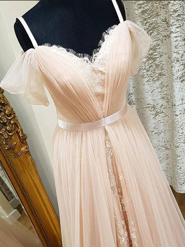 Chic Prom Dresses A-line Spaghetti Straps Tulle Lace Long Sexy Prom Dress JKL517