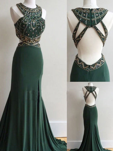 Dark Green Prom Dresses Column Scoop Rhinestone Long Prom Dress Sexy Evening Dress JKL518