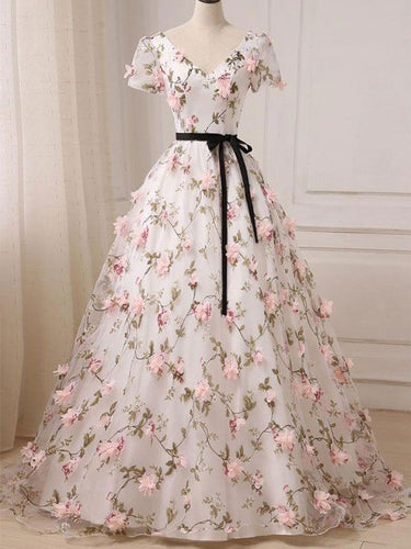 Ball Gown Prom Dresses V-neck Floor-length Floral Long Lace Prom Dress JKL519